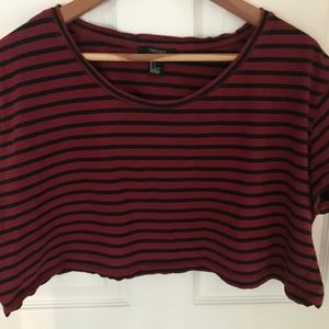 Forever 21 Red and Black Crop Tee